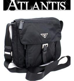 Prada PRADA Diagonal Shoulder Bag Nylon Black BT8994