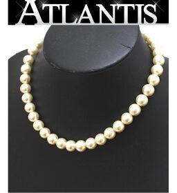Chanel CHANEL Vintage Pearl Necklace Coco Mark Gold Hardware