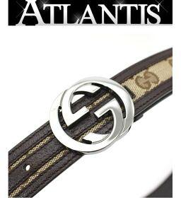 Gucci GUCCI G buckle belt interlocking GG canvas size85 114874