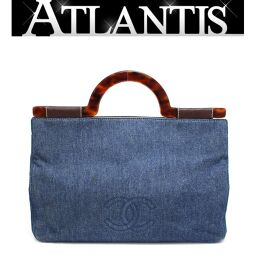 Rare Chanel CHANEL Denim Tote Bag Plastic Handle Blue A4 Can be Stored