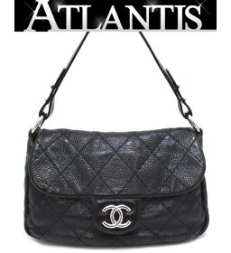 Good Condition Chanel CHANEL On The Road Shoulder Bag Matrasse Black Lambskin Silver Hardware