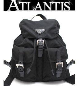 Prada PRADA rucksack backpack nylon x leather double pocket black