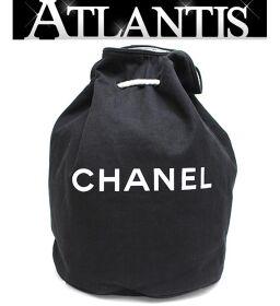 Chanel CHANEL Pool Bag Drawstring Shoulder Bag Canvas Black x White