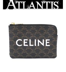 Celine CELINE Coin case with key hook Coin purse Triomphe brown black