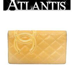 Chanel CHANEL Cambon Bi-Fold Wallet Enamel Beige x Orange