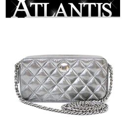 SALE Chanel CHANEL Matrasse Chain Wallet Coco Mark Leather Silver SV Metal Fittings