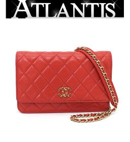 Chanel CHANEL Matrasse Chain Wallet Coco Mark Lamb Red Red