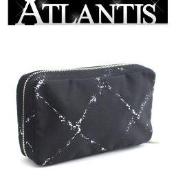 Gokubihin Chanel CHANEL Old Travel Line Cosmetic Case Pouch Nylon Black