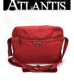 Prada PRADA diagonal hanging shoulder bag nylon red