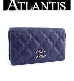 Chanel CHANEL Ultra Stitch Coco Mark Bi-Fold Long Wallet Lamb Blue