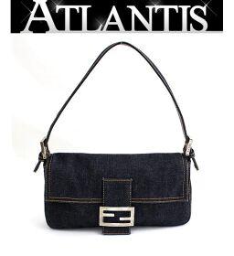 Good Condition FENDI Rare Mamma Bucket Hand Shoulder Bag Denim Blue SV Metal Fittings