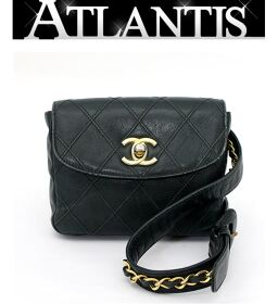 Chanel CHANEL Waist Pouch Bag Matrasse Lambskin Moss Green