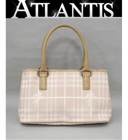 Burberry BURBERRY Small Tote Bag Check Pink Canvas x Leather