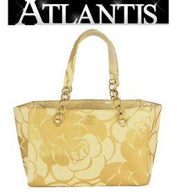 Good Condition Chanel CHANEL Camellia Chain Tote Bag Straw Beige
