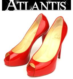 Ginza store stock disposal large SALE Christian Louboutin Open toe Pumps Shoes size38 1/2 Rouge