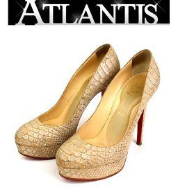 銀座 クリスチャンルブタン パンプス パイソン 靴 プラットフォーム size38 1/2 ベージュ×シルバー