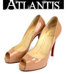 銀座 クリスチャンルブタン オープントゥ パンプス  靴 プラットフォーム  size38 1/2 ベージュ