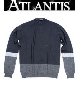 銀座 未使用 プラダ 長袖 ニット 黒×グレー メンズ size48 セーター