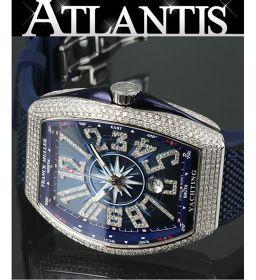 銀座 フランクミュラー ヴァンガード ヨッティング ダイヤモンド V45SCDT ブルー メンズ 腕時計