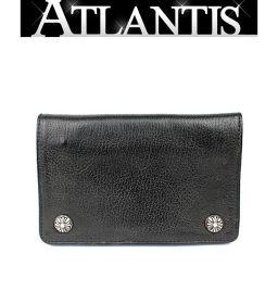 銀座 クロムハーツ 2ジップ ウォレット 財布 レザー 黒 インボイス付き