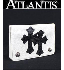銀座 クロムハーツ 2ジップ ウォレット クロスパッチ 財布 レザー 白×黒