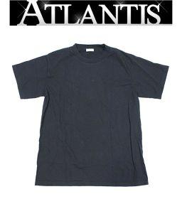 銀座店 バレンシアガ アップリケロゴ コットン Tシャツ 黒 XLサイズ