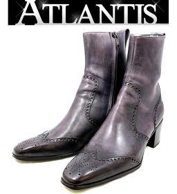 銀座店 イヴ サンローラン ショートブーツ サイドジップ メンズ  靴 ライトパープル size42