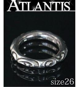 銀座店 クロムハーツ インボイス付き スクロールバンド リング 指輪 シルバー SV925 約26号