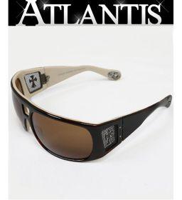 銀座店 クロムハーツ サングラス POST-OP クロスモチーフ メガネ 眼鏡 ブラウン×オフホワイト