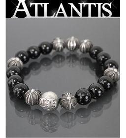 Ginza store Chrome Hearts beaded bracelet 10mm black tourmaline bracelet black silver SV925