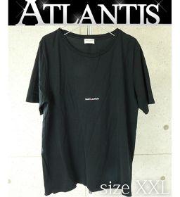 銀座店 サンローラン Tシャツ ワンポイント ロゴ メンズ トップス 黒 size:XXL