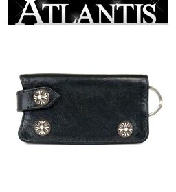 Ginza store Chrome Hearts cross button key case leather key ring black