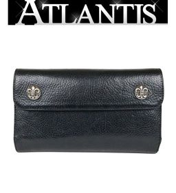 Ginza Chrome Hearts Wave Wallet Flare Button Leather Three Fold Long Wallet Black