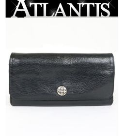 Ginza store Chrome Hearts JUDY Judy wallet cross button leather long wallet black