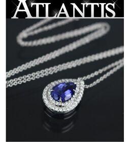 銀座店 ティファニー ソレスト ネックレス ペンダント タンザナイト ダイヤモンド PT950 ブルー系