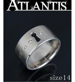 銀座店 ティファニー 2Pダイヤロック リング 指輪 size14 シルバー SV925