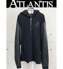 Ginza store Chrome Hearts leather switching zip up hoodie Cemetery cloth plus sizeXL black