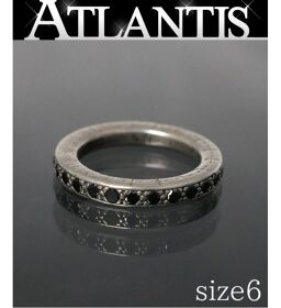 Ginza Store Chrome Hearts NTFL Pave Black Diamond Ring Ring Silver SV925 Approx. 6