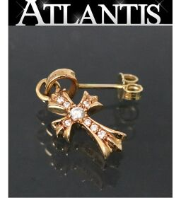 Ginza store Chrome Hearts with invoice 22K baby fat cross earrings pavé diamond gold