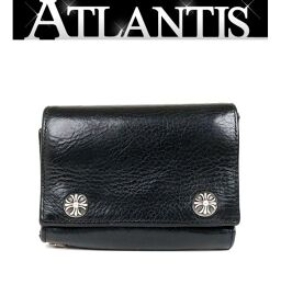 Ginza Store Chrome Hearts 3 Fold Wallet Cross Button Tri-Fold Wallet Leather SV925 Black