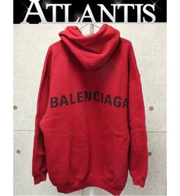 Ginza store New Balenciaga back logo print pullover hoodie brushed back long sleeve red size: L