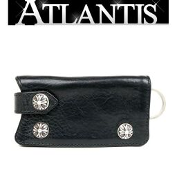 Ginza store Chrome Hearts cross button key case with invoice leather key chain silver SV925 black