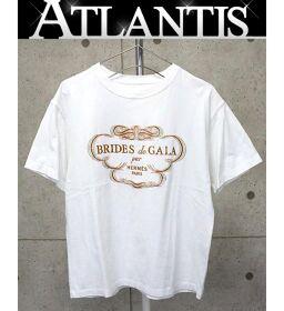 銀座店 エルメス 【BRIDES de GELA】プリント Tシャツ 半袖 size40 白