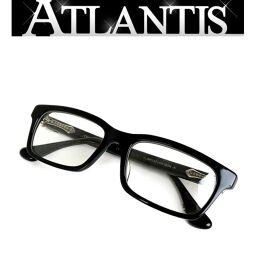 銀座店 クロムハーツ RUMPLEFORESKIN 伊達メガネ 眼鏡フレーム 黒 シルバー SV925