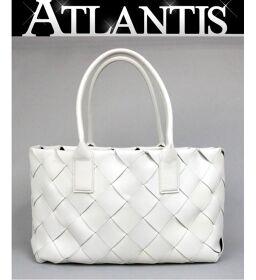 Ginza store Bottega Veneta Hippo Intrecciato Tote Bag White with leather pouch