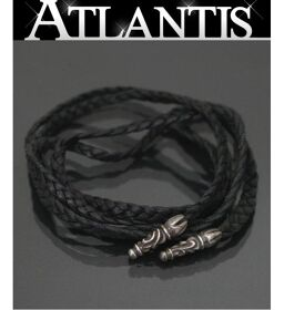 Ginza store Chrome Hearts leather braid necklace silver SV925