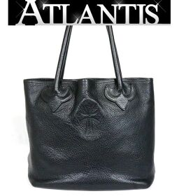 Ginza store Chrome Hearts FS tote bag with invoice Cross patch leather Silver SV925 Black