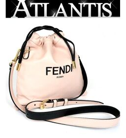 Ginza store Fendi Pack Slim Clutch Bag Small Nappa Leather Drawstring Shoulder G Metal Fittings Pink