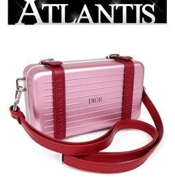 Ginza store Good Condition Dior x RIMOWA Personal Clutch Bag Shoulder Bag Pink
