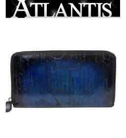 Ginza store Berluti long wallet round fastener calligraphy blue blue